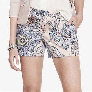 Express Shorts - Express Paisley Print Side Zip Shorts